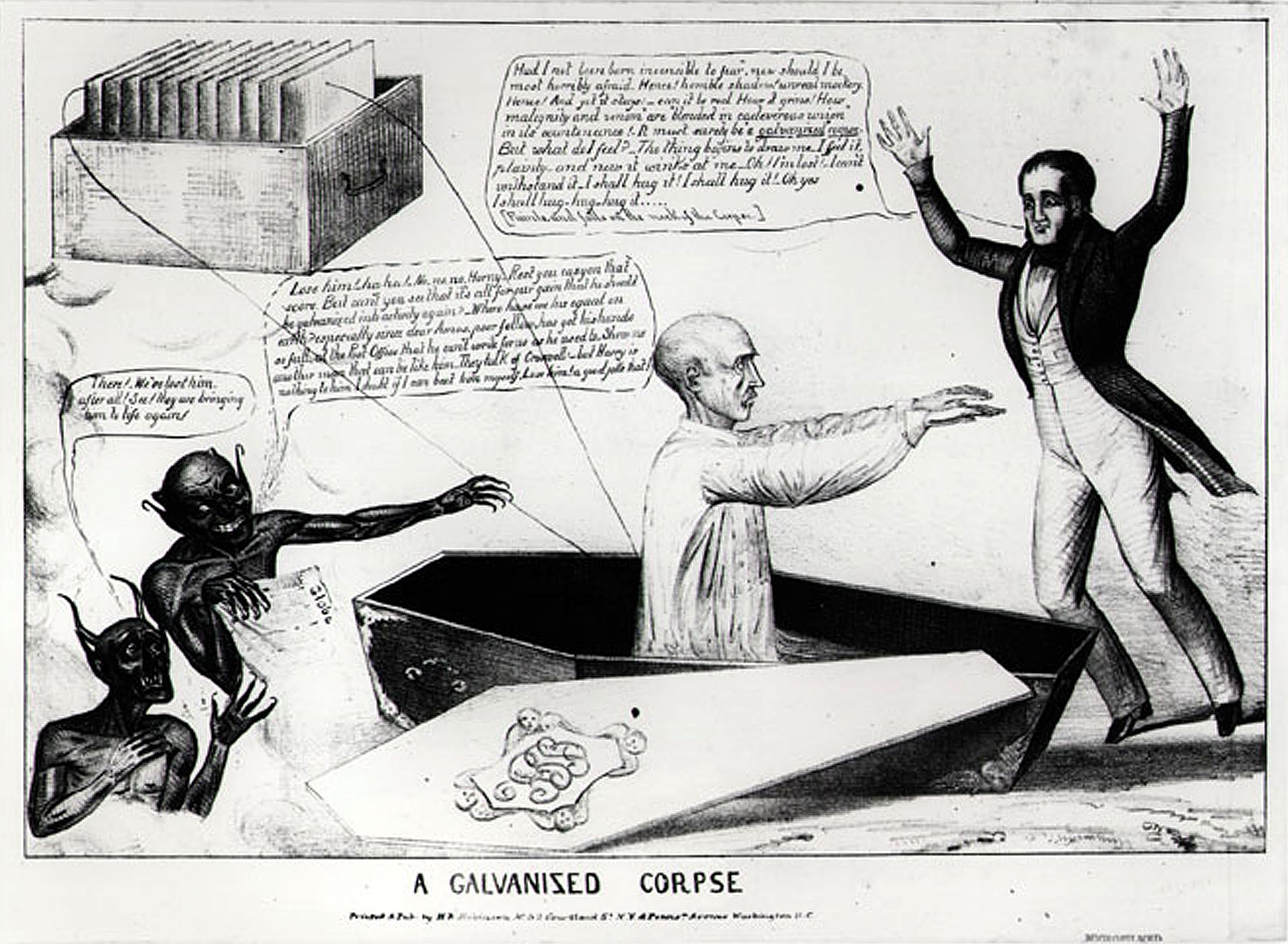 Karikatur zu Aldinis galvanischem Experiment
