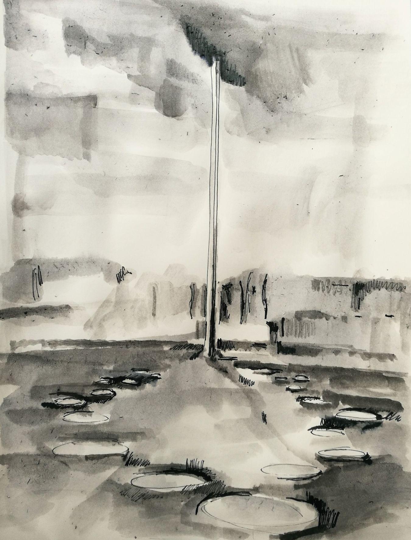 © Christian Gmeiner, Entwurf/Denkmal für die vergessenen NS-Opfer in Ritzing, Tusche auf Papier, 29,7 x 21 cm, 2018