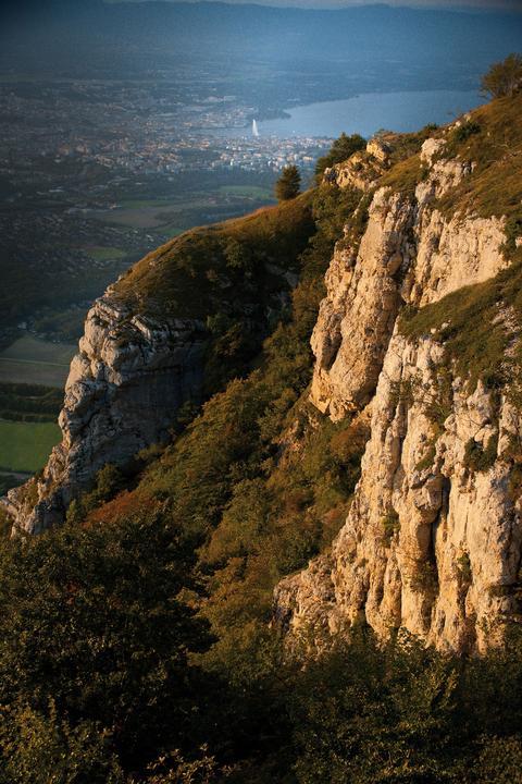 Blick vom Mont Salève auf Genf (Schweiz)