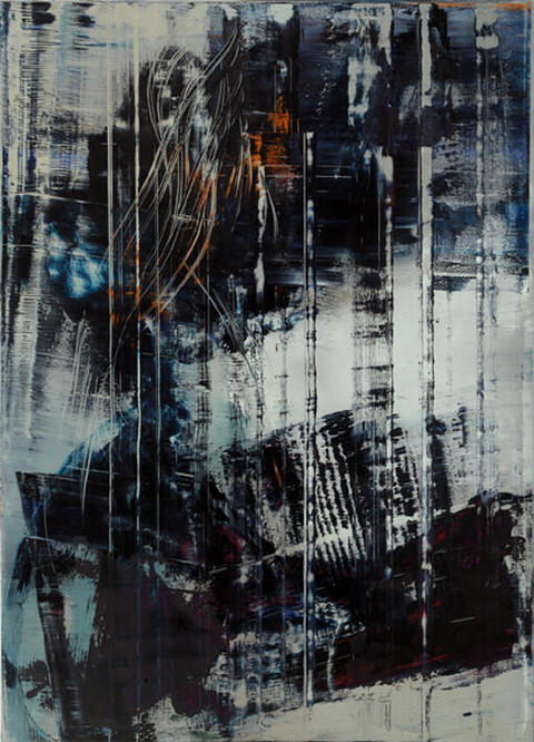 Cage Painting, 2012, Öl auf Leinwand, © Hubert Scheibl Foto: pixelstorm